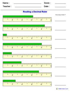 Reading a Decimal Ruler Worksheets