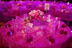 Breast Cancer Research Foundation's table settings.  Love the textured floral linens [more at pinterest.com/eventsbygab]