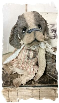 "Image of ""D"" is for Darling - Shabby Pup Dog in romper   ~ 8"" size  *  Whendi's Bears"