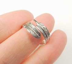 Sterling Silver Feather Wrap Ring Feather Ring by Kissingravens