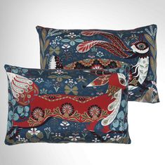 Black Hare and Fox silk cushions, £79 each