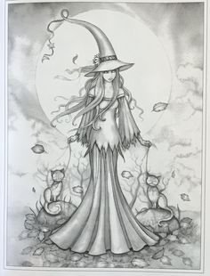 Autumn Magic Grayscale Coloring Book: Autumn Fairies, Witches, and More! Witch Coloring Pages, Halloween Coloring Pages, Coloring Pages To Print, Adult Coloring Pages, Coloring Books, Colorful Drawings, Colorful Pictures, Fairy Art, Halloween Art