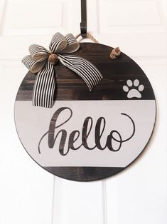 rectangle Jute hanger with gingham bow. Wooden plaque live laugh love