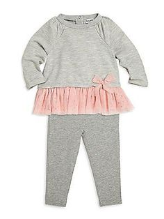 Splendid Baby's Two-Piece Bow-Detailed Heathered Top & Pants Set