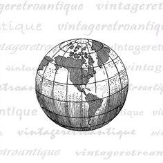 Earth Globe World Map Digital Image Graphic von VintageRetroAntique
