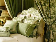green toile du juoy was our choice for this room................Isn't it pretty?