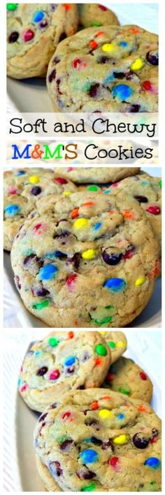 Our Soft and Chewy MMS Cookies have a buttery cookie dough, thats loaded with bright colored mini MMS candies, making them a super delicious cookie! Baking Recipes, Cookie Recipes, Cookie Desserts, Dessert Recipes, M&m Cookie Recipe, Gourmet Cookies, Yummy Cookies, Candy Cookies, Just Desserts