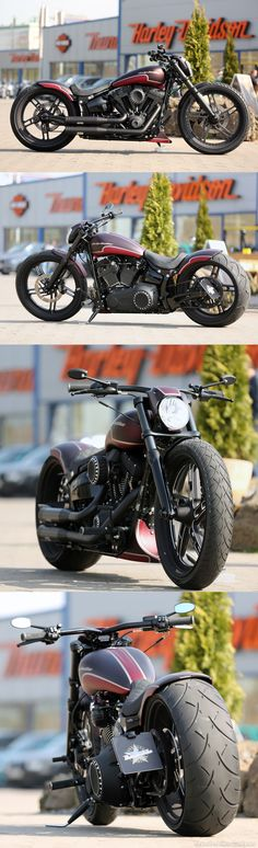 """Harley-Davidson Softail Breakout with 21"""" & 23"""" wheels by Thunderbike Customs - the first photos as a World Premiere here on pinterest"""