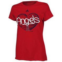 adidas Los Angeles Angels of Anaheim Youth Girls Like Forever T-Shirt - Red