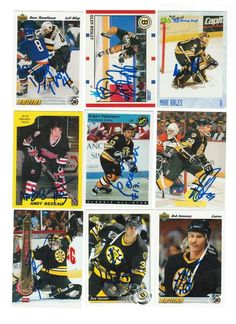 Boston Bruins Lot of 9 Autographed Cards. You will receive all cards in the picture. This Lot includes: Glen Wesley, Grigori Panteleyev, Andy Bezeau, Mike Bales, Dave Thomlinson, Marc Potvin, Don Sweeney, Bob Sweeney & Vincent Riendeau.