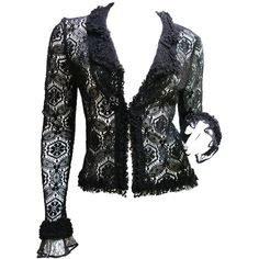 Pre-owned CHANEL Black Lace Cardigan Top 04A Size 38 (3.765 RON) ❤ liked on Polyvore featuring tops, cardigans, sweaters, dressy tops, chanel cardigan, crochet lace cardigan, dressy black cardigan and ruffle cardigan