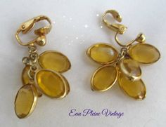 Earrings Goldtone Dangle Gold Faceted Glass Faux Pierced Clip Style