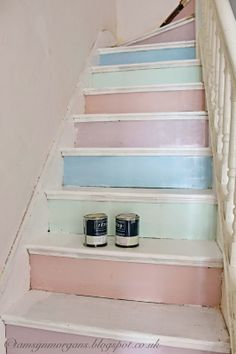 @ The Villa on Mount Pleasant: Work in Progress - Pastel Staircase via carol jensen Pastel Decor, Cozy Cottage, Cottage Style, Pastell Fashion, Retro Home, Shabby Chic Homes, Pretty Pastel, Interior Exterior, Ideal Home