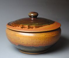 Clay Lidded Casserole Baking Dish Red Orange by JohnMcCoyPottery, $96.00