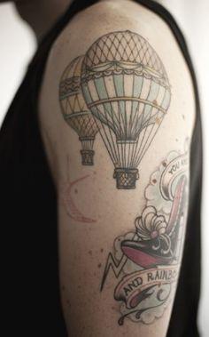 Vintage hot air balloon tattoo
