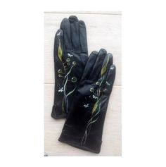 Green Leather Gloves  Hand painted  SIZE 7.5  ready от InGAartWork