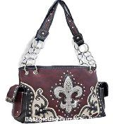 Purple Conceal and Carry Western Cowgirl Style Fleur De Lis Purse