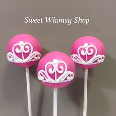 12 Princess Tiara Cake Pops for Disney theme, Fairytale, Cinderella, Queen, Crown, Wedding Favor, Royal Baby Shower, 1st Birthday, Hot Pink by SweetWhimsyShop on Etsy https://www.etsy.com/listing/232771882/12-princess-tiara-cake-pops-for-disney
