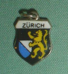 Argent émail argent 800 de charme charme Zurich pas sterling de voyage vintage pour bracelet Suisse