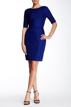 Tahari Elbow Length Sleeve Pleated Knit Dress