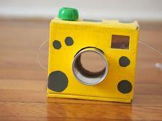 Cardboard camera - kids dramatic play ideas / cardboard crafts - Pink Stripey Socks