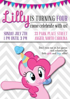 my little pony 5 pinkie pie birthday party by partyheartyprintable, Party invitations