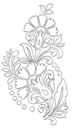 Hand Embroidery Design Patterns, Hand Embroidery Projects, Flower Embroidery Designs, Stencil Patterns, Hand Embroidery Patterns, Pattern Art, Pottery Painting Designs, Paint Designs, Stencil Painting