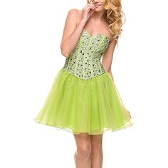 Nox Anabel Lime Embellished Strapless Dress ($30) ❤ liked on Polyvore featuring dresses, plus size, plus size long dresses, strapless long dresses, long green dress, green dress and plus size dresses