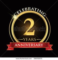 Celebrating 2 years anniversary logo. with golden ring and red ribbon. - stock vector