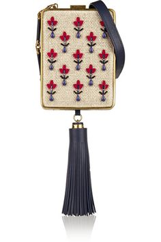 Tory Burch Adele embellished canvas, resin and leather clutch / tassel and faux embroidery, twill-lined interior, eclectic glamour