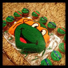 Teenage mutant ninga turtle cake I made for a awesome 4 year old!