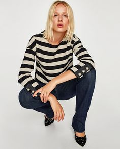 ZARA - WOMAN - STRIPED TOP WITH FAUX PEARLS