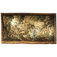 Antique Courting Dancing Couples Victorian Scene Tapestry Yard Long Belgium Modern Techniques Tapestries Antiques