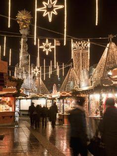 Stalls of Christmas Market, With Baroque Trinity Column in Background, Hauptplatz, Linz, Austria Photographic Print