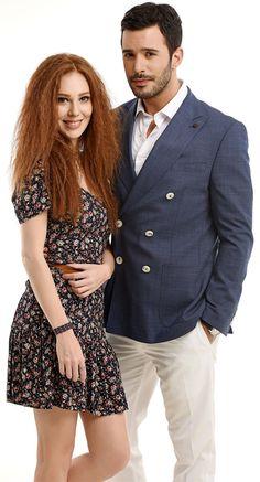 Kiralik Ask - FamousFix Turkish Men, Turkish Fashion, Turkish Beauty, Turkish Actors, Beautiful Celebrities, Beautiful Actresses, Red Hair Woman, Elcin Sangu, Couple