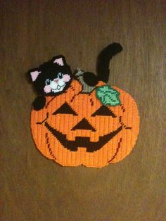 Black Cat with Pumpkin Wall Hanging Needlepoint Plastic Canvas on Etsy, $15.00