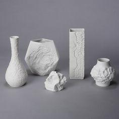 White Mid Century Bavarian Porcelain Vases