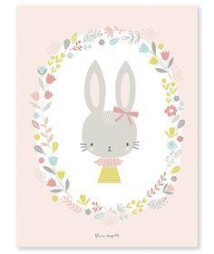 Affiche bébé enfant lapin fille
