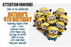 Printable Despicable Me Minions Birthday Invitation