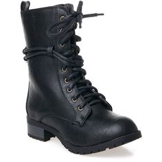 Reneeze Alice Combat Boot ($23) ❤ liked on Polyvore featuring shoes, boots, ankle boots, black, black lace up boots, low heel ankle boots, black military boots, short heel boots and short black boots