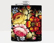 Khokhloma flask for women Russian folk art Floral Women Birthday Gift For Her Gift ideas for her Unique Present for women Liuor Hip flask