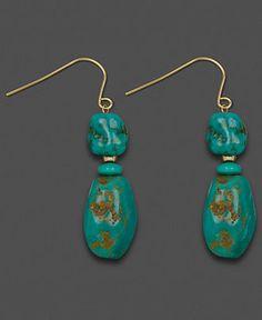 14k Gold Earrings, Turquoise Chip Drops - Earrings - Jewelry & Watches - Macy's