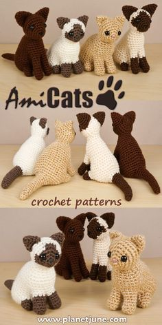 AmiCats Collection 2 crochet patterns - Fiedler Renate - AmiCats Collection 2 crochet patterns Four new AmiCats to crochet: Burmese, Himalayan, Persian and Siamese. Super-cute and realistically-shaped amigurumi cat crochet patterns. Crochet Cat Pattern, Crochet Animal Patterns, Stuffed Animal Patterns, Crochet Patterns Amigurumi, Crochet Animals, Crochet Dolls, Crochet Clothes, Softie Pattern, Crochet Birds