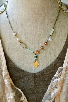 Grace.layeredglass beadedbohocharm necklace. by tiedupmemories