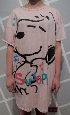 80s Light Pink Snoopy T Shirt Dress by kokorokoko on Etsy, $24.00