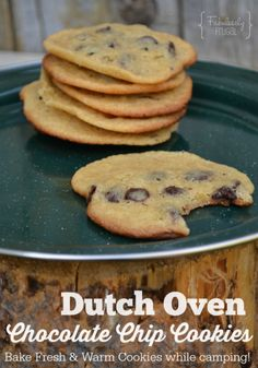 Next time you go camping don& forget the hot and fresh chocolate chip cookies! With dutch oven baking you can make homemade cookies rig Dutch Oven Desserts, Dutch Oven Recipes, Delicious Chocolate, Vegetarian Chocolate, Cookie Recipes, Dessert Recipes, Dutch Oven Camping, Camping Meals, Camping Recipes