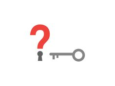 Question mark with keyhole and key