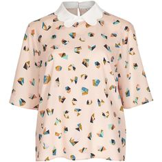 Facet Print Blouse M&S ($42) ❤ liked on Polyvore featuring tops, blouses, shirts, t-shirts, pink blouse, shirt blouse, print tops, pink top and pattern shirt