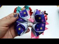(5) Moños Dobles de Liston para el cabello FloresyMoños Faciles - YouTube