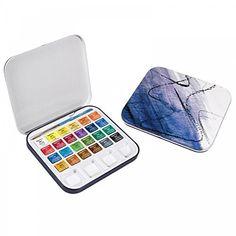 Amazon.com: Daler-Rowney Water Colour Aquafine Tin Set of 24 Half Pans - Assorted Colors
